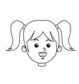 portrait pretty little girl happy outline vector image