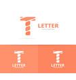 unique letter t logo design template vector image