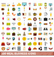 100 meal business icons set flat style vector image