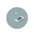 isometric white smartphone with headphones vector image