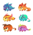 Set of cute cartoon little monsters vector image