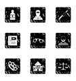 Lawlessness icons set grunge style vector image