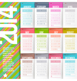 Calendar of 2014 with stitched labels vector image