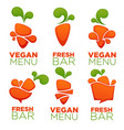 carrot vegetable vegan menu and fresh juice vector image