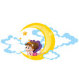 cute fairy sitting on moon vector image