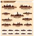 Skyline city set 10 cities of USA - 1 vector image