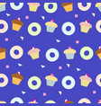 delicious cupcakes and donut seamless pattern vector image