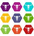 buffalo skull icon set color hexahedron vector image