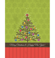 background with snowflakes and christmas tree vector image