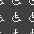 disabled icon sign Seamless pattern on a gray vector image