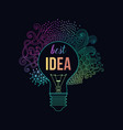 light bulb made of handdrawn doodles creative vector image