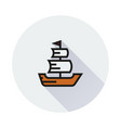 sailing ship icon on round background vector image