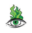 the all seeing eye - green firey flame illuminati vector image