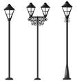 three design of street lamps vector image