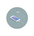 isometric white smartphone with headphone adapter vector image