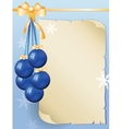 greeting card with old sheet of paper and blue vector image