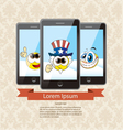 three touchscreen mobile phone devices vector image vector image