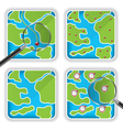 Map icons and magnifying glass vector image