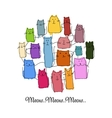 Colorful cats collection sketch for your design vector image
