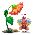 A giant flower beside a colorful butterfly vector image