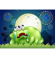 A tired green monster at the carnival vector image vector image