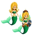 Two fighting blonde mermaid with a green tail vector image