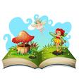 Book of fairies flying in the garden vector image