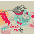 Bird and cakes vector image