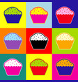 cupcake sign pop-art style colorful icons vector image