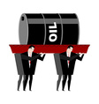 Funeral oil Barrel of oil carried in coffin vector image
