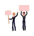 office worker with empty pink banner set vector image