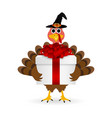 Turkey with a gift on Thanksgiving Day vector image