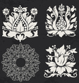 Floral and geometry design elements vector image