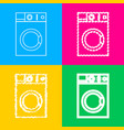 washing machine sign four styles of icon on four vector image