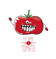 funny cartoon cute red tomato vector image