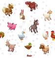 seamless pattern with funny cartoon farm animals