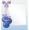 greeting card with white sheet of paper and blue vector image