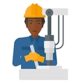 Worker working with industrial equipment vector image