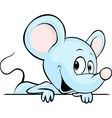 Blue cute mouse cartoon peeking out from white vector image