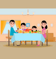 Cartoon happy family festive dinner table vector image