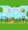 childrens playground on city park flat design vector image
