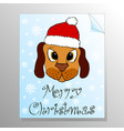 greeting card with cute puppy in red hat vector image