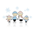 Happy family smiling together christmas holiday vector image
