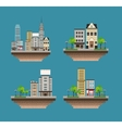 set city buildings landscape street vector image