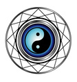 Ying Yang symbol with blue glow vector image