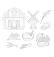 Wheat Farm Isolated Hand Drawn Realistic Sketches vector image