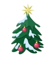 Christmas Tree Flat Style vector image vector image