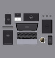 Dark identity mock-up template on gray background vector image vector image