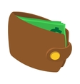 Brown wallet with card and cash icon vector image