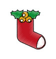 christmas stocking decoration ornate design vector image